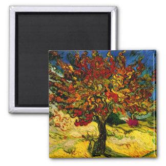 Bella arte del árbol de mora de Van Gogh (F637) Imán Cuadrado