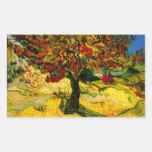Bella arte del árbol de mora de Van Gogh (F637) Pegatina Rectangular