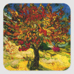 Bella arte del árbol de mora de Van Gogh (F637) Pegatina Cuadrada