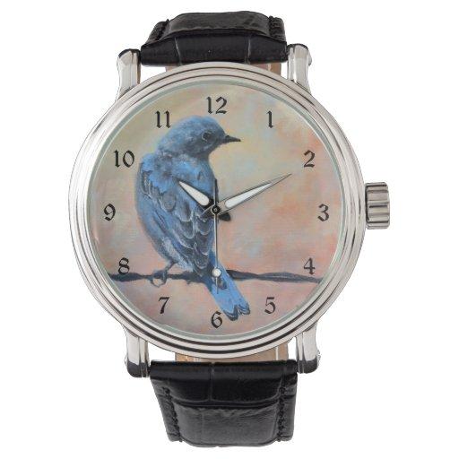 Bella arte del Bluebird de la montaña Reloj De Mano