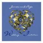 Bella arte del boda del corazón del azul y del oro