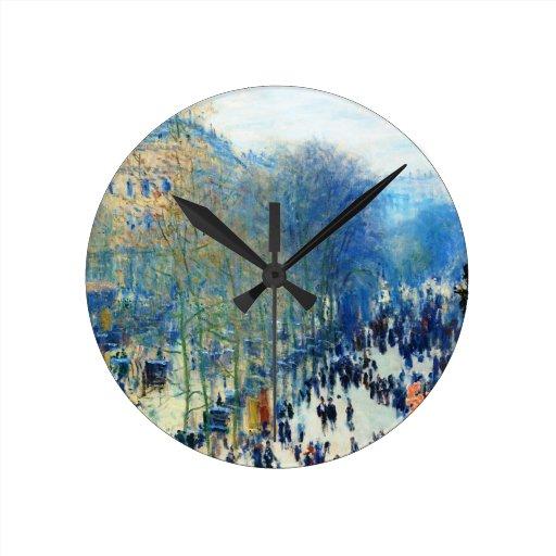 Bella arte del DES Capucines Claude Monet del bule Reloj Redondo Mediano