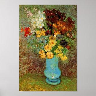 Bella arte del florero, de las margaritas y de las poster