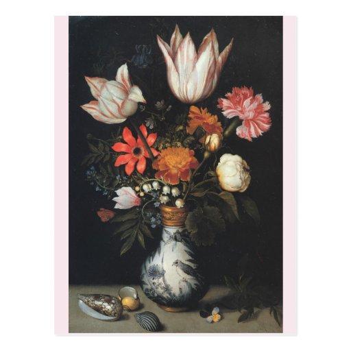 Bella arte del florero del vintage que pinta a Amb Tarjeta Postal