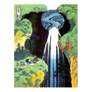 Bella arte del japonés de Hokusai de la cascada de Postales