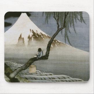 Bella arte del japonés del muchacho y del monte tapetes de raton