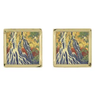 Bella arte del japonés del vintage de Hokasai Gemelos Dorados