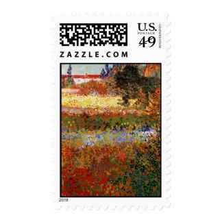 Bella arte del jardín floreciente de Van Gogh Sello