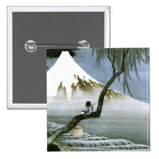 Bella arte del muchacho y del monte Fuji Hokusai Pin Cuadrado