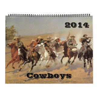 Bella arte del oeste americana 2014 de los vaquero calendario