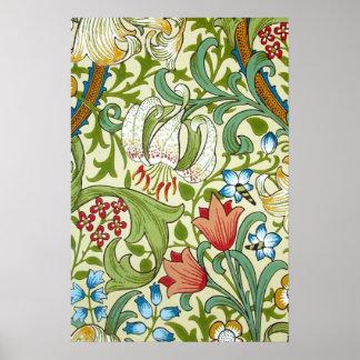 Bella arte del papel pintado del lirio del jardín póster
