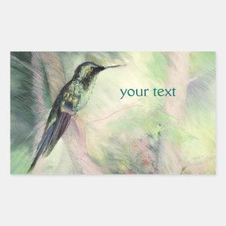 Bella arte del pastel del colibrí pegatina rectangular