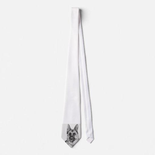 Bella arte del pastor alemán corbatas personalizadas