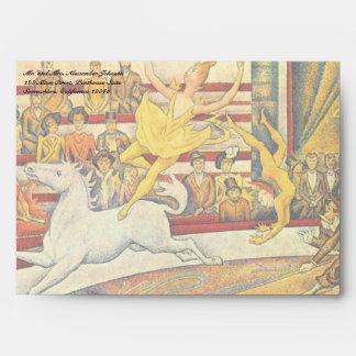 Bella arte del Pointillism del vintage, el circo Sobres