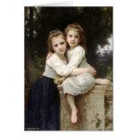 Bella arte del vintage de dos hermanas por la tarj