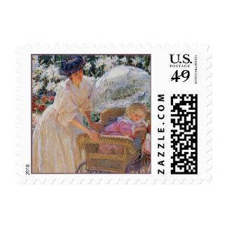 Bella arte del vintage de la madre y del niño timbres postales