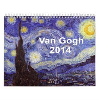 Bella arte del vintage de la noche estrellada de calendarios de pared