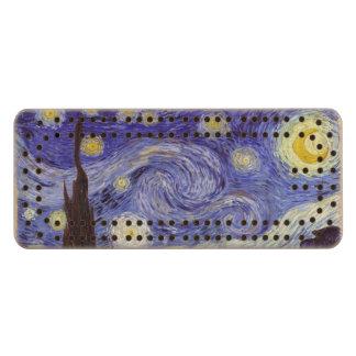 Bella arte del vintage de la noche estrellada de cribbage de arce