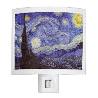 Bella arte del vintage de la noche estrellada de lámparas de noche