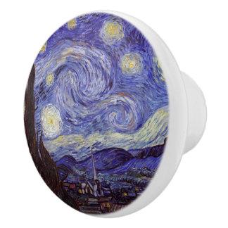 Bella arte del vintage de la noche estrellada de pomo de cerámica