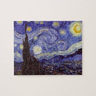 Bella arte del vintage de la noche estrellada de puzzle