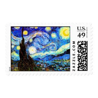 Bella arte del vintage de la noche estrellada de sello