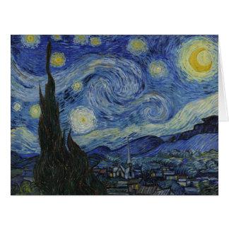 Bella arte del vintage de la noche estrellada de tarjeta de felicitación grande