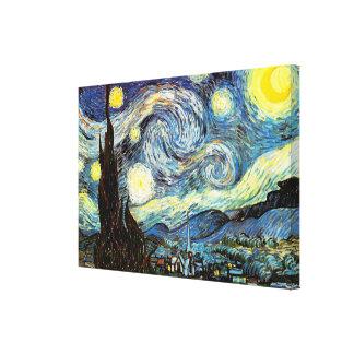 Bella arte del vintage de la noche estrellada de V Impresión En Lienzo Estirada