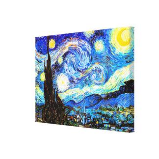Bella arte del vintage de la noche estrellada de V Lona Estirada Galerias