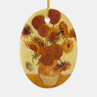 Bella arte del vintage de los girasoles de Van Adorno Ovalado De Cerámica