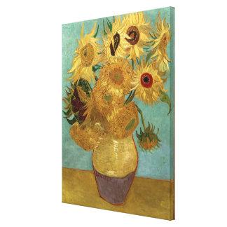 Bella arte del vintage de los girasoles de Van Gog Lona Estirada Galerías