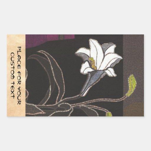 Bella arte del vintage del ukiyo-e de los lirios pegatina rectangular