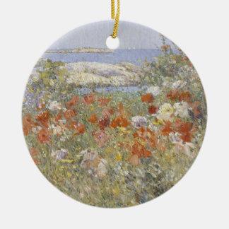 Bella arte del vintage, el jardín de Celia Thaxter Adorno Navideño Redondo De Cerámica