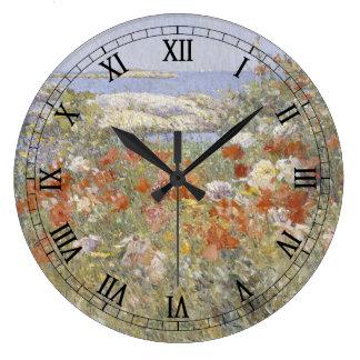 Bella arte del vintage, el jardín de Celia Thaxter Reloj Redondo Grande