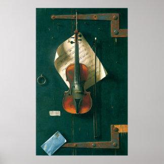 Bella arte del vintage, vieja todavía del violín póster