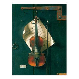 Bella arte del vintage, vieja todavía del violín tarjetas postales