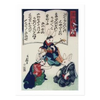 Bella arte epidémica de Kuniyoshi del conejo de Postales