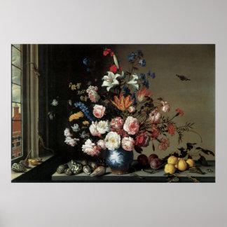 Bella arte floral con el poster de Lillies de los