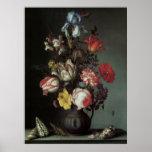 Bella arte floral con el poster de los tulipanes d