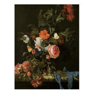 Bella arte floral con la postal de los rosas