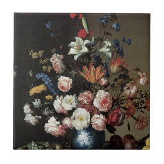 Bella arte floral con las tejas de los lirios de l