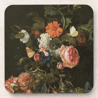 Bella arte floral con los prácticos de costa del c posavasos de bebida