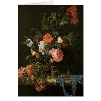 Bella arte floral con los rosas tarjeta de felicitación