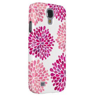 Bella arte floral de la flor de la dalia rosada de funda para galaxy s4