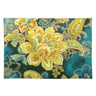 Bella arte floral de Paisley del vintage del oro Manteles Individuales