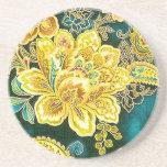 Bella arte floral de Paisley del vintage del oro Posavasos Personalizados