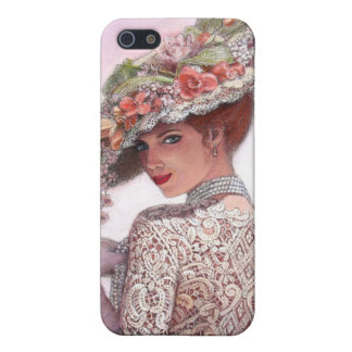 Bella arte floral del gorra de la señora del Victo iPhone 5 Carcasa
