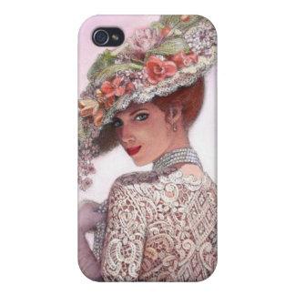 Bella arte floral del gorra de la señora del Victo iPhone 4 Funda