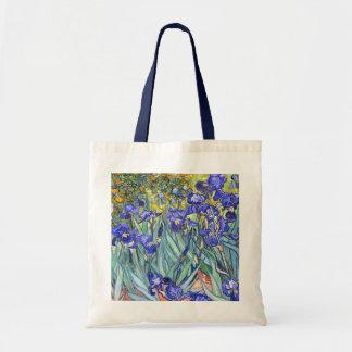 Bella arte floral del vintage de los iris de bolsa tela barata