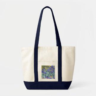 Bella arte floral del vintage de los iris de bolsa tela impulso